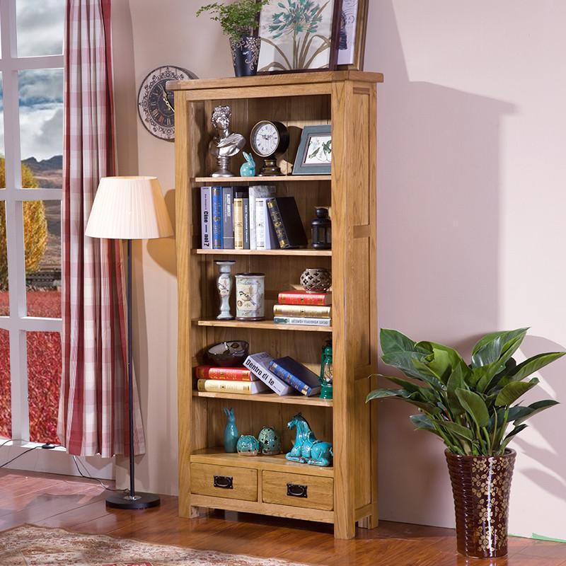 书柜书架橡木柜子实木储物柜书房家具开放式自由组合
