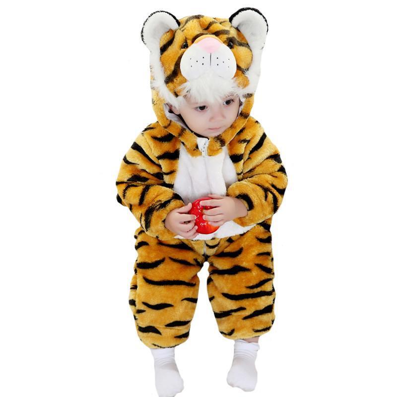 婴儿服装宝宝装秋冬季儿童加厚连帽动物造型连体衣/爬服/哈衣黄色老虎