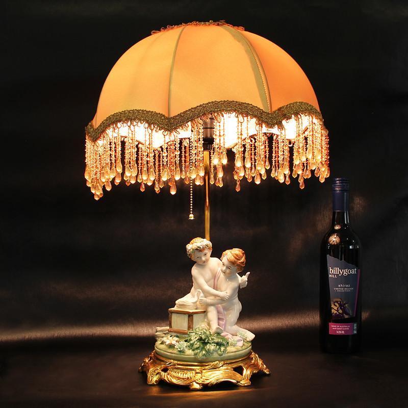 欧式卧室人偶陶瓷护眼台灯