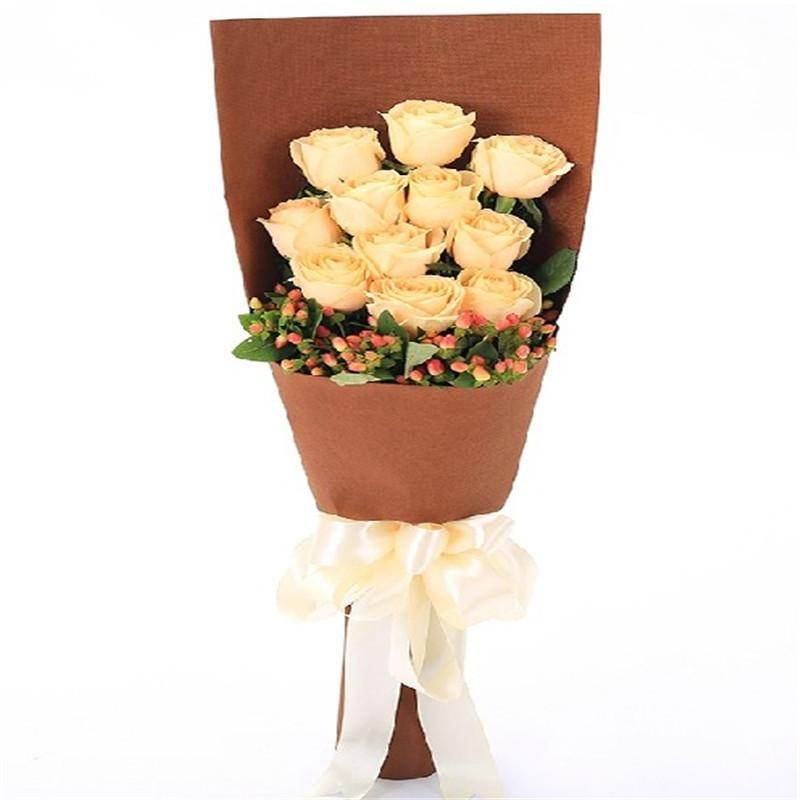 爱的印记 11朵香槟玫瑰花束