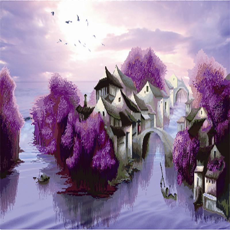 紫色风景十字绣图片