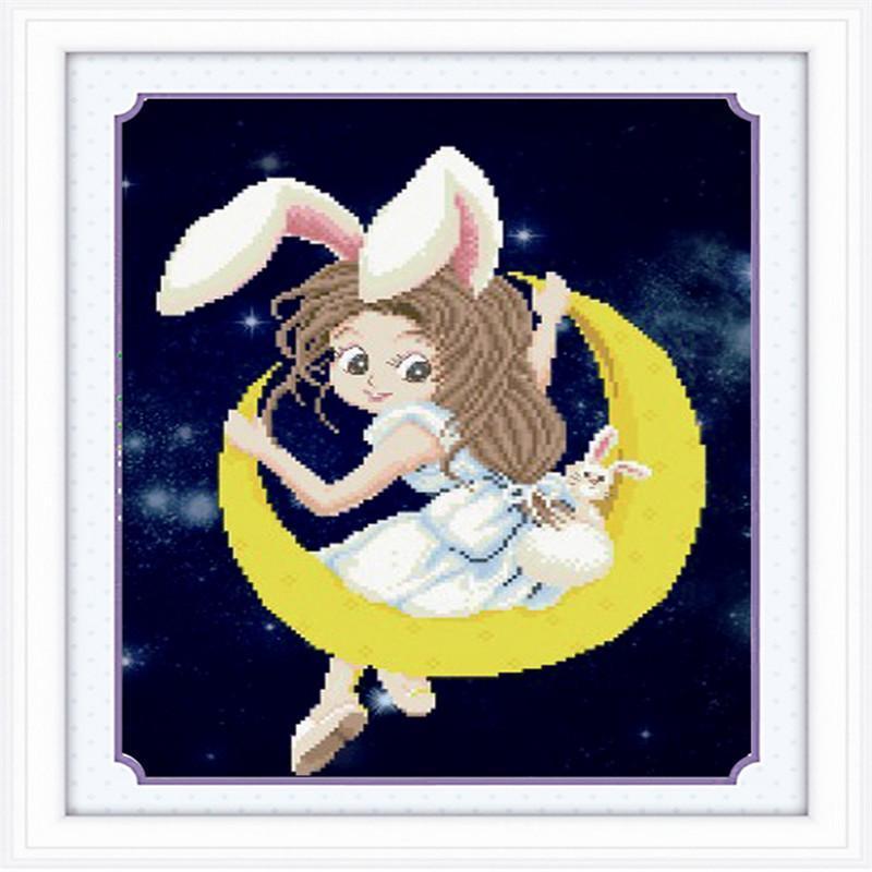 钻石画卡通系列 月亮女孩