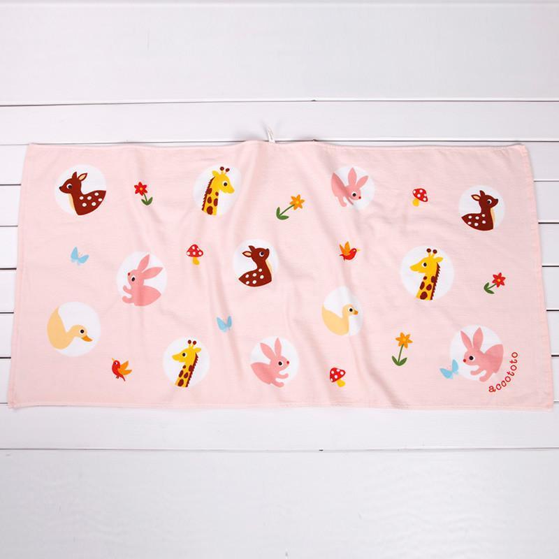 日本内野accototo圆圆的动物单面纱布浴巾纯棉 婴儿宝宝挂式浴巾 p