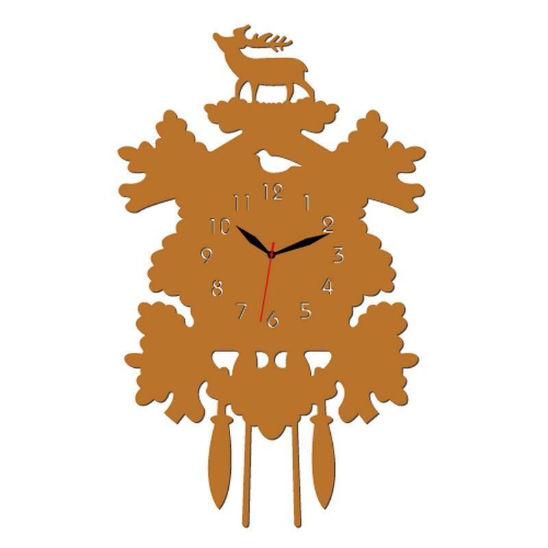 个性一百 森林鹿创意时钟edh0604创意个性时钟可爱亚克力动物挂钟客厅