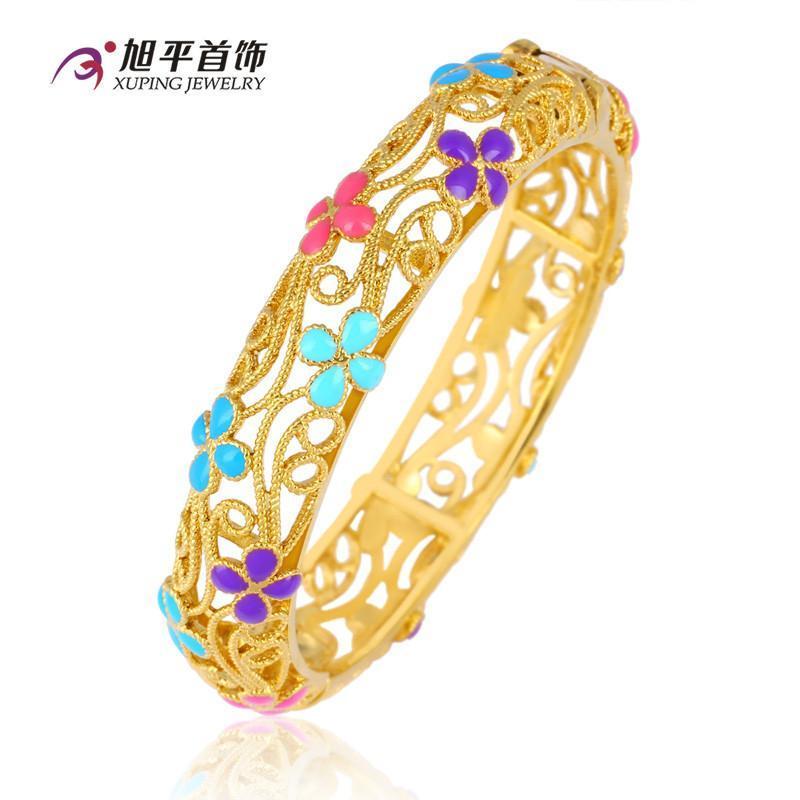 旭平首饰 镀金时尚花朵镂空花纹手镯 复古时尚宫廷手环防过敏礼物