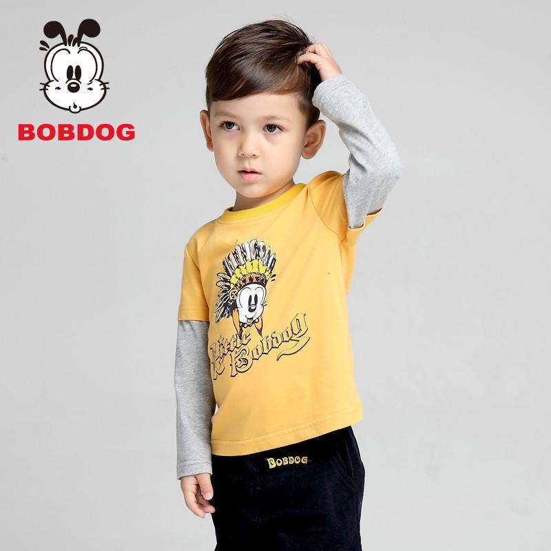 巴布豆(bobdog)2014秋装新款男童撞色拼接袖t恤宝宝长袖儿童衣服印花t