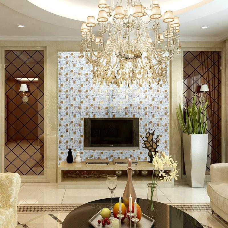 赛莱雅欧式奢华水晶玻璃镜面马赛克瓷砖欧式内墙电视