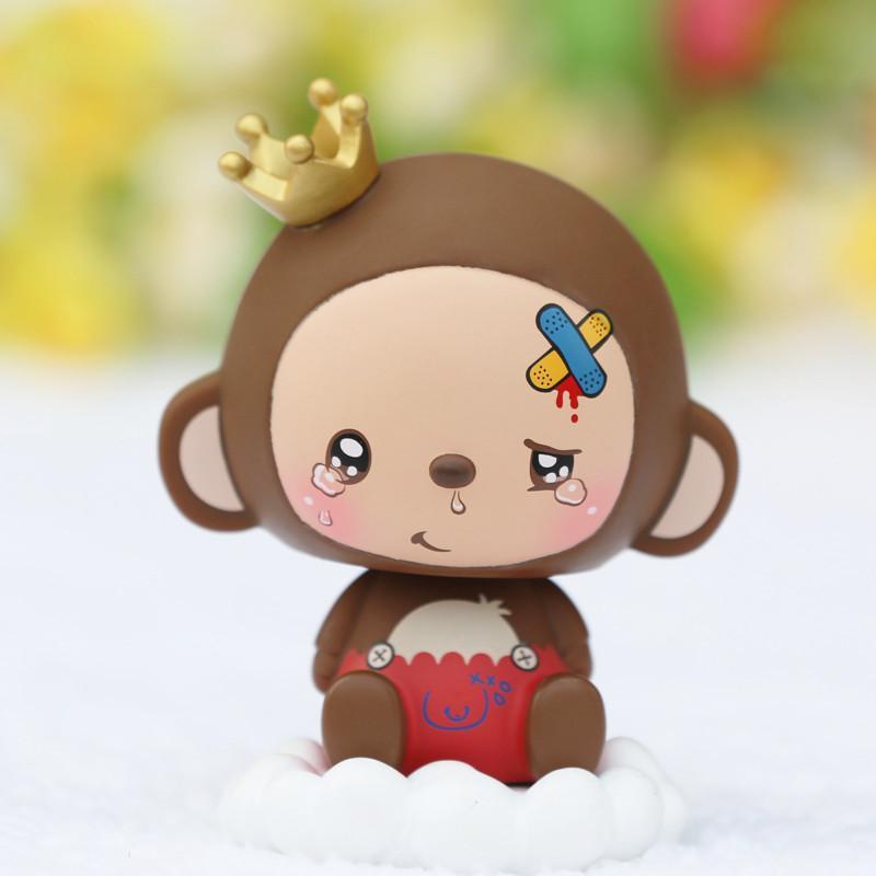 皇冠猴 汽车摆件车用摇头公仔娃娃 可爱单个装 momo浪子款升级版