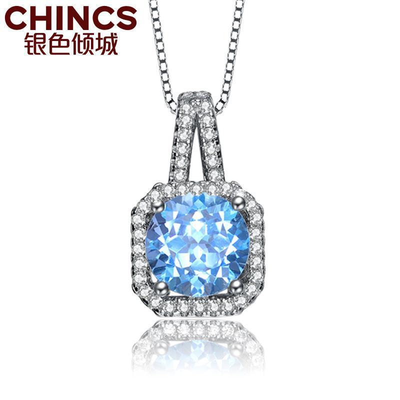 银色倾城 s925纯银 镶天然彩宝 方形 托帕石 吊坠 礼物 女项链 送证书