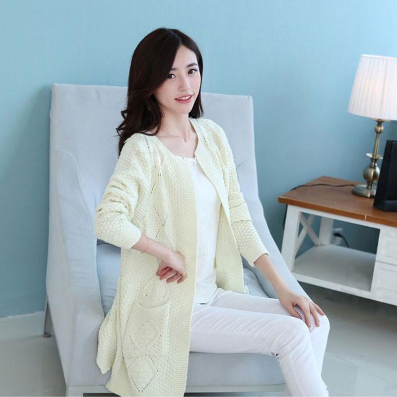 米纱2014秋装新款韩版中长款毛衣针织开衫外