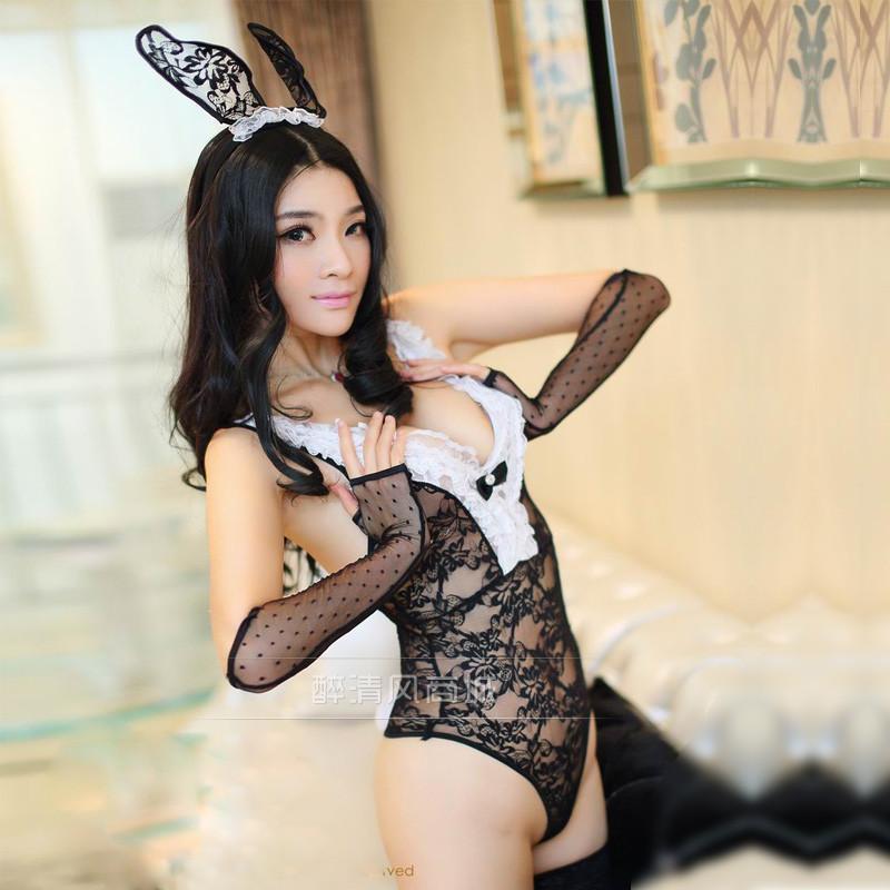 俏皮可爱性感蕾丝兔女郎修身透视诱惑情趣内衣女9871