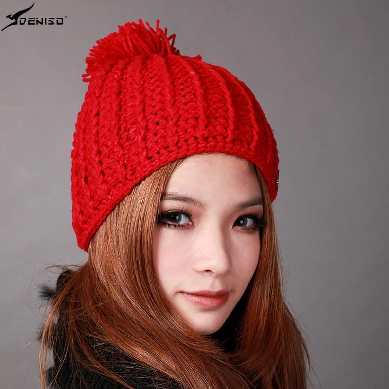 deniso帽子冬帽女款纯手工编织帽针织帽毛线帽ds-1200