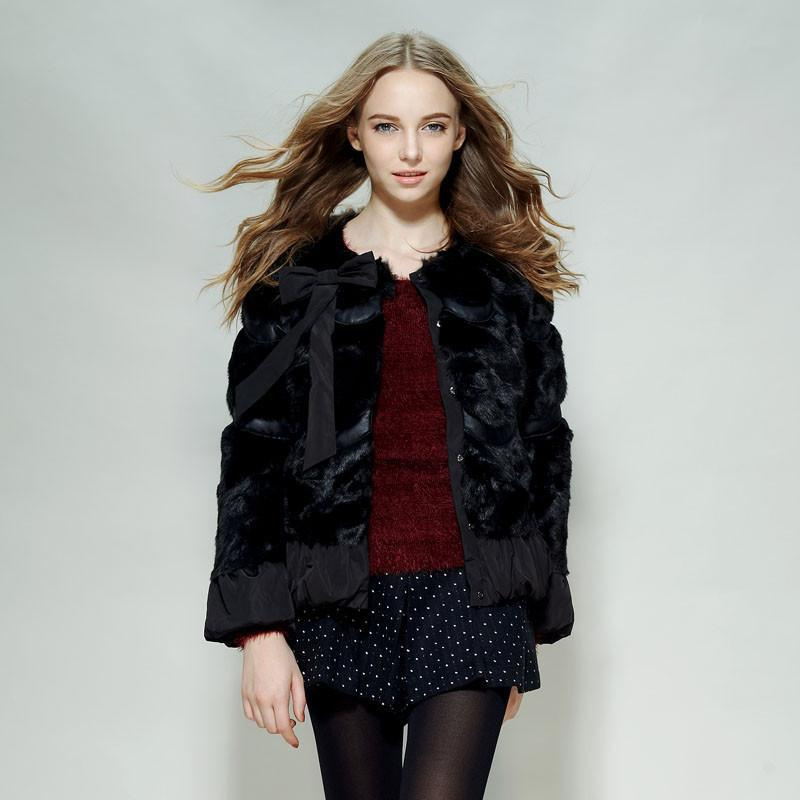 短款毛外套黑色