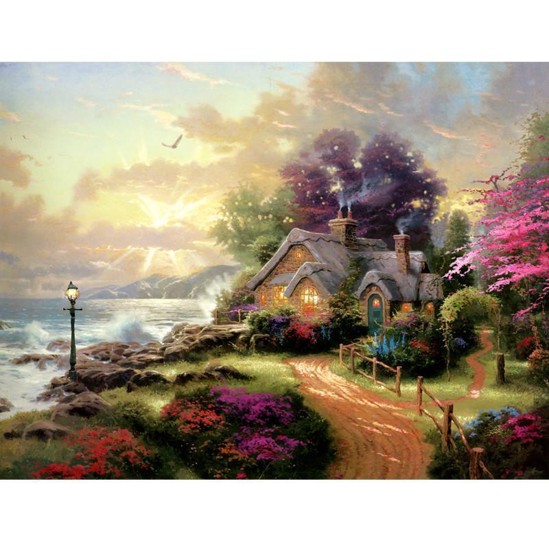 意特朗 拼图1000片 木质拼图 成人益智拼图玩具 风景油画 装饰画 童话