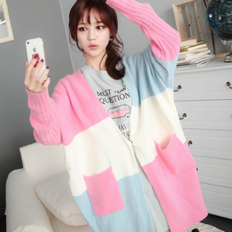 2014韩国秋冬新款女装甜美可爱彩色v领宽松毛衣长袖