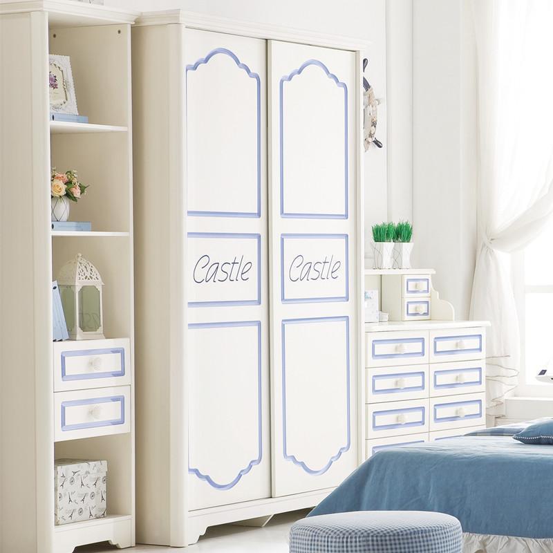 法丽莎家具t1实木衣柜宜家儿童简约双门白色衣柜欧式