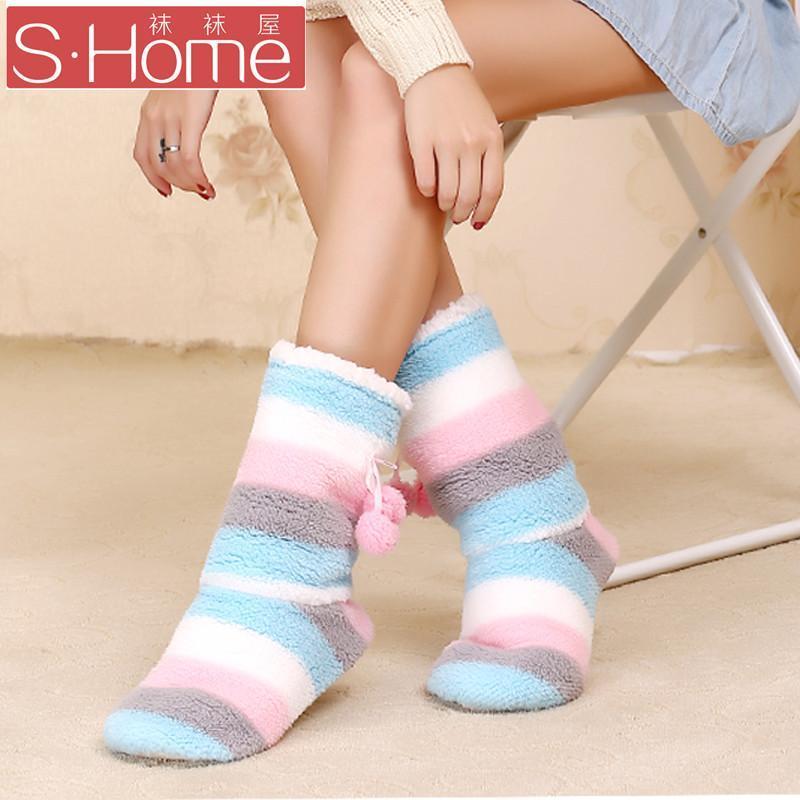袜袜屋秋冬可爱小清新撞色条纹