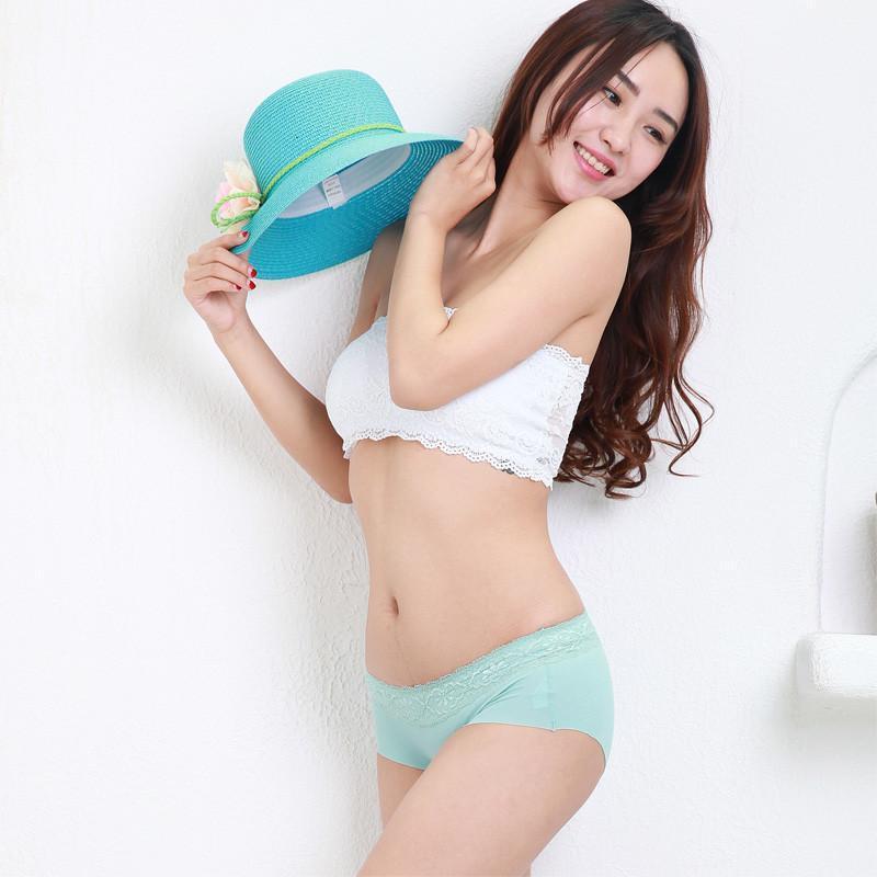 女士中腰内裤头性感蕾丝花边可爱纯色