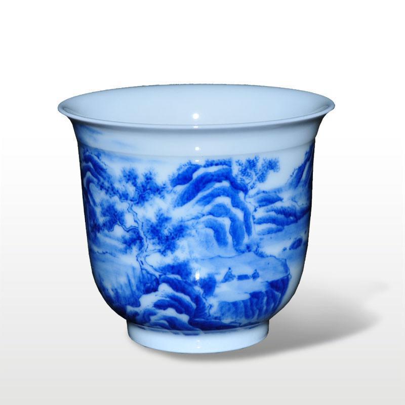淘瓷缘景德镇手绘青花瓷器茶具茶杯单杯水杯压手杯【江山】陶瓷握手杯