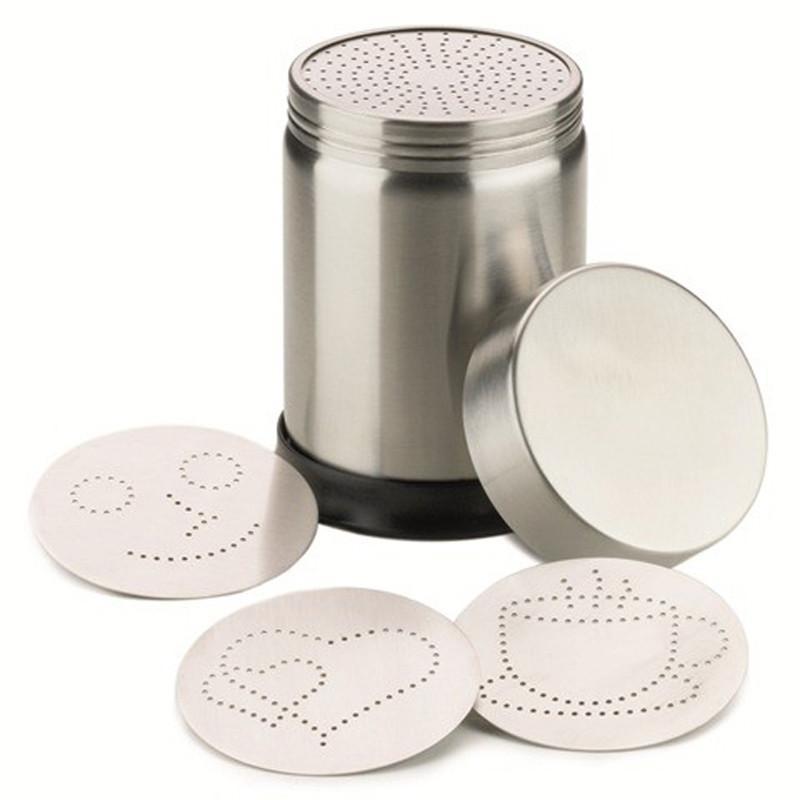 撒粉罐+4片拉花模具 可可粉卡布奇诺咖啡撒粉器