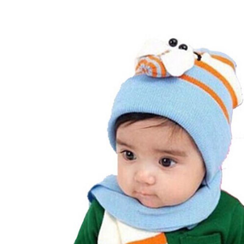秋冬新款宝宝可爱帽子围巾脖套组合卡通套头