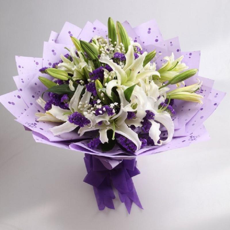 花集鲜花速递 5枝白色多头香水百合15朵 紫色流星 祝福鲜花 全国免费
