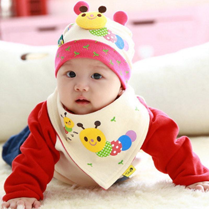 叶子宝宝 婴儿帽子套装套头帽睡眠帽加三角巾 毛毛虫米色 6-36个月