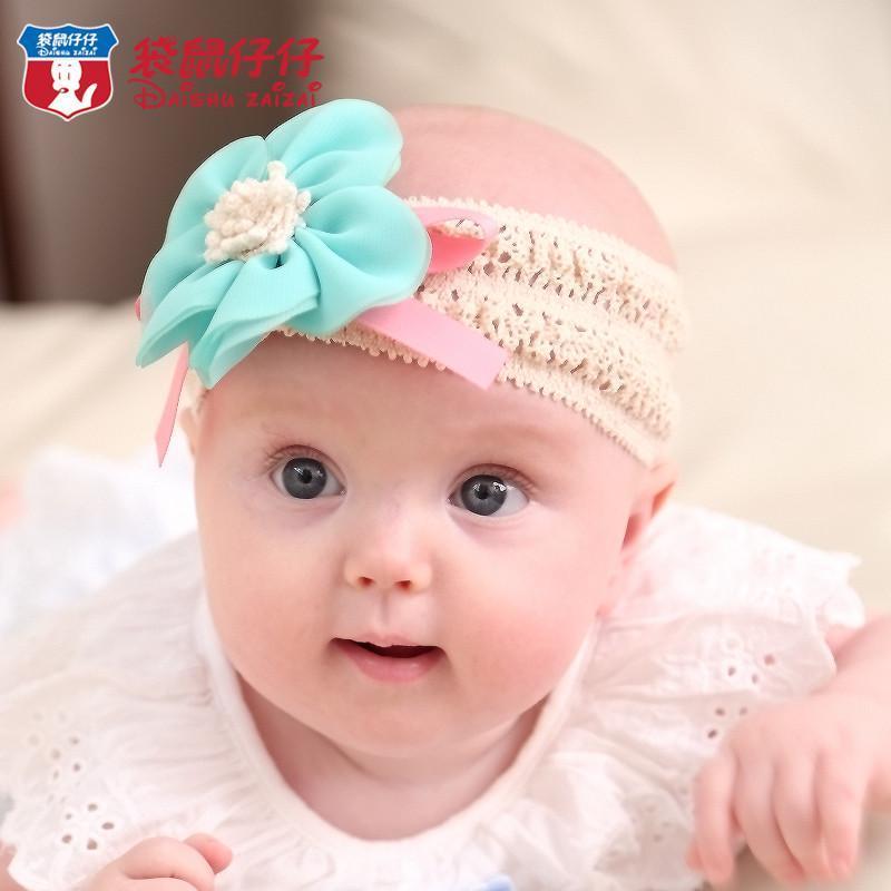 袋鼠仔仔新品 婴儿发饰头花 女孩女婴童发带 婴儿蕾丝发带 可爱宝宝