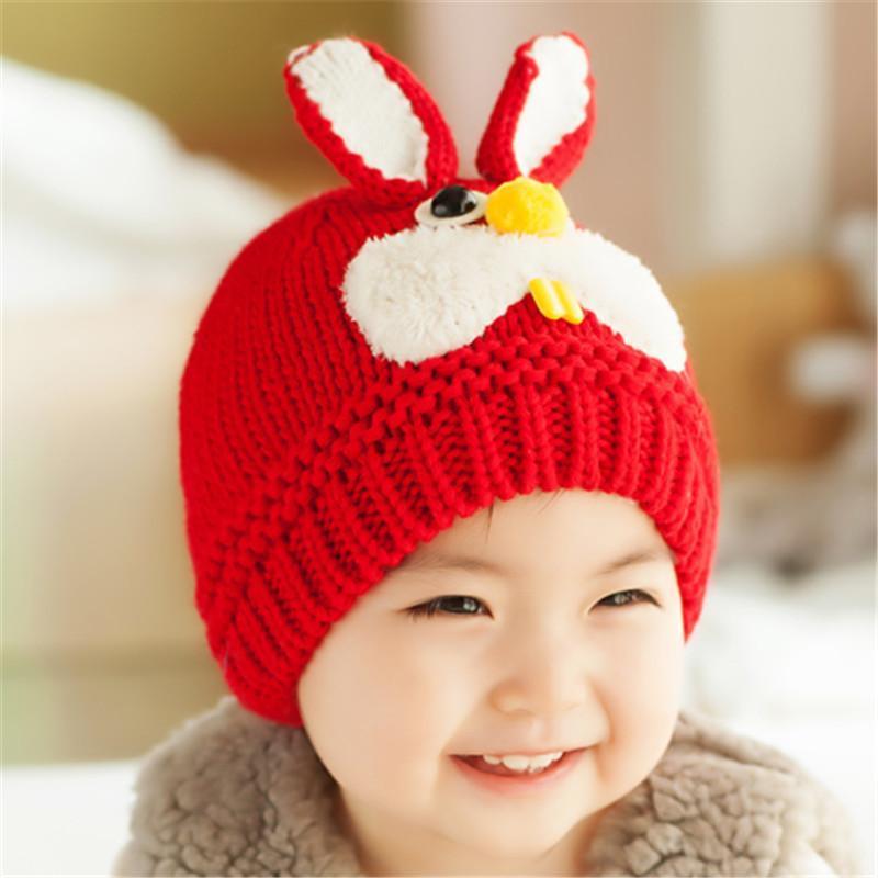 儿童帽子可爱卡通兔耳朵护耳毛线帽针织帽宝宝帽子