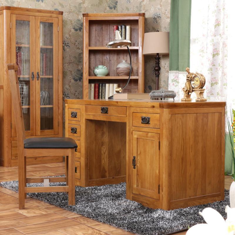 海木源林家具 美式乡村风格白橡木电脑桌学习桌办公桌 纯实木书桌复古图片