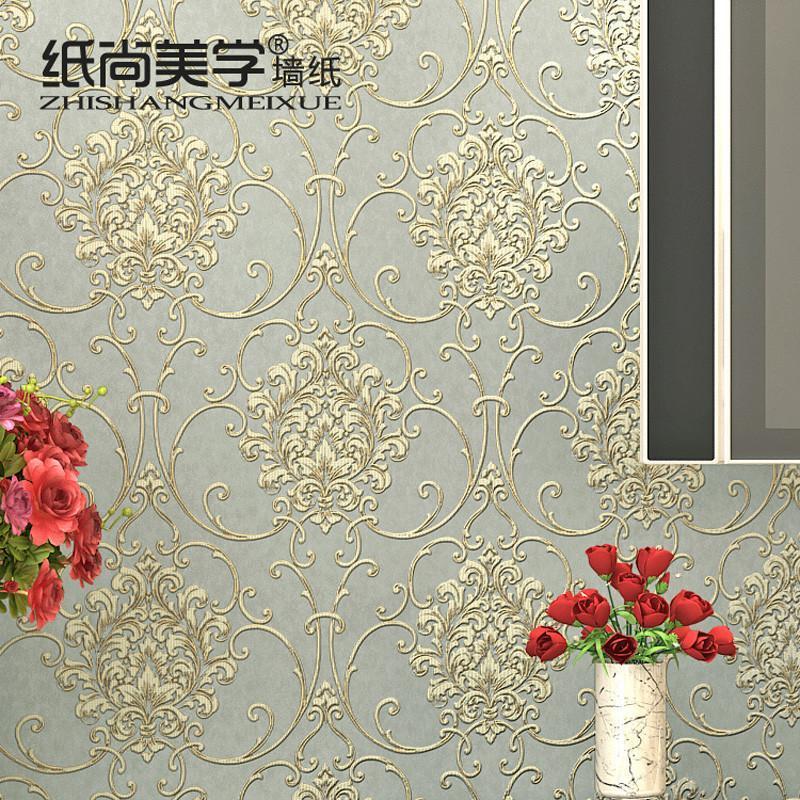 纸尚美学无纺布壁纸 欧式浅灰色电视背景墙