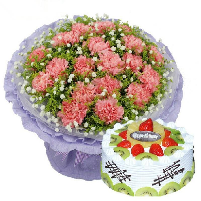 19朵粉色康乃馨鲜花花束生日蛋糕