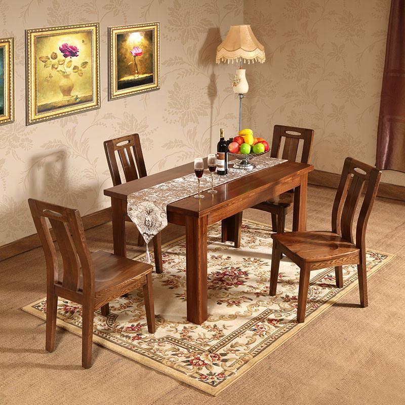 初林榆木现代中式餐桌餐椅套装