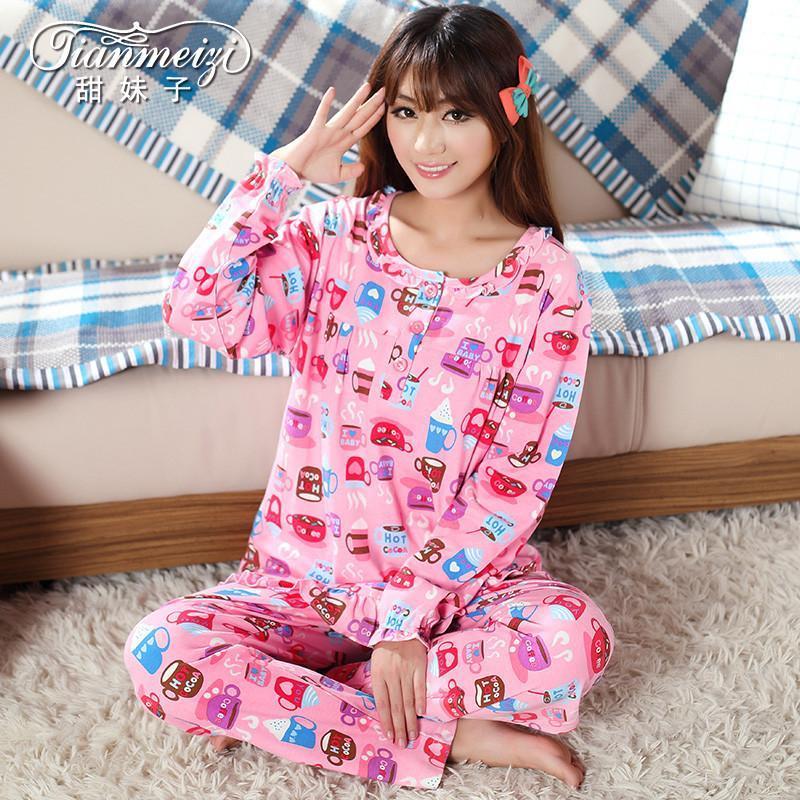 春秋季纯棉长袖女睡衣可爱卡通女套装睡衣家居服