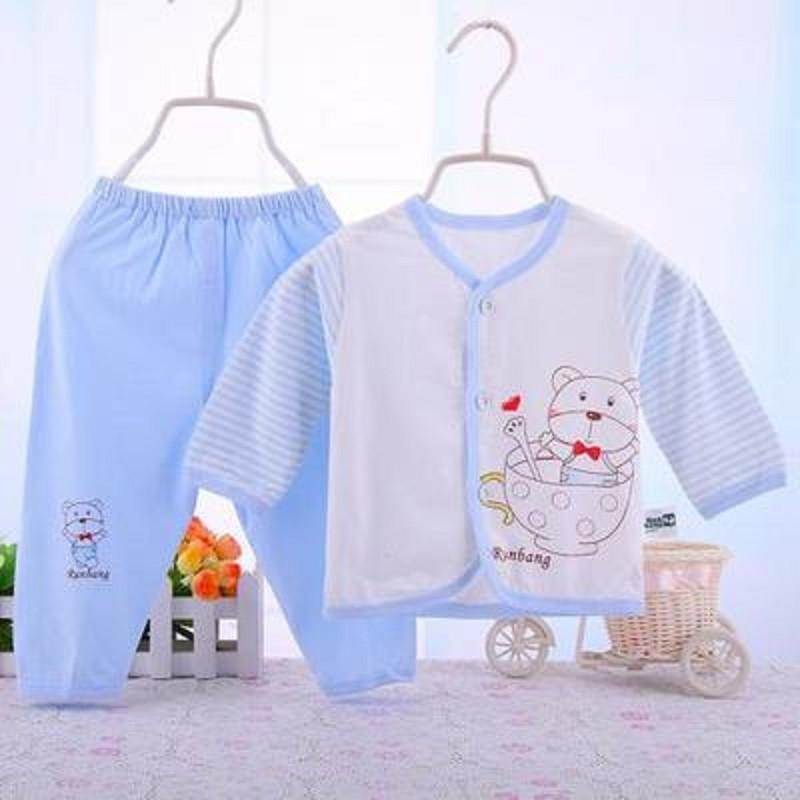 儿童宝宝婴儿衣服新生儿竹纤维+纯棉内衣睡衣婴幼儿套装 春夏 蓝色 66