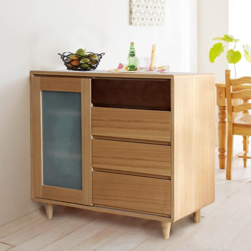 日式纯实木餐厅边柜多抽橱柜带玻璃门多功能