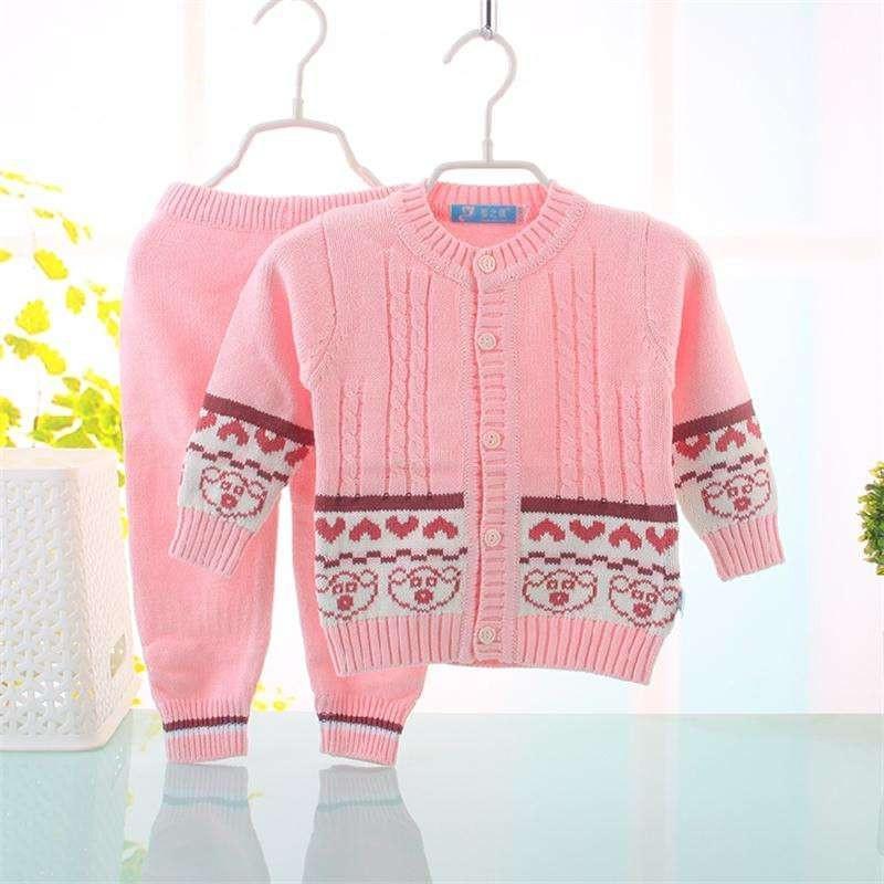 新款秋冬宝宝毛衣套装纯棉提花开衫套男女童条纹圆领针织衫 粉色 73cm