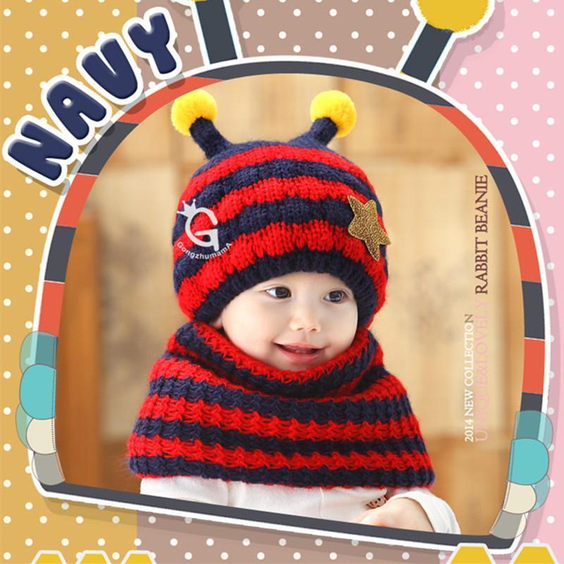 加厚毛线小蜜蜂卡通可爱造型宝宝儿童帽子围巾2件套