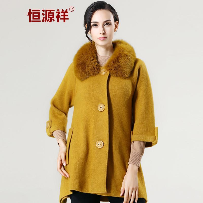 恒源祥貂绒大衣外套 2014冬季韩版新款女士加厚长款羊毛风衣 秋香绿 1