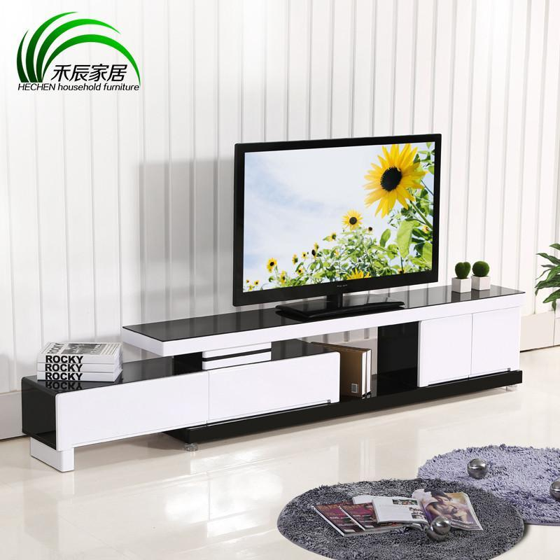 简约 伸缩地柜电视柜组合 现代简约烤漆地柜 黑白色2868 黑白色 红色