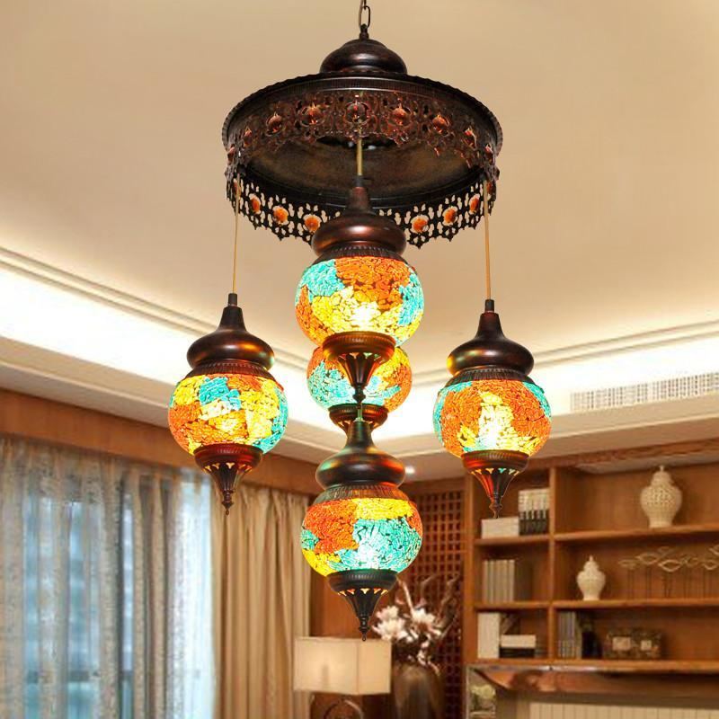 东南亚尼泊尔欧式复古客厅七彩玻璃客厅灯