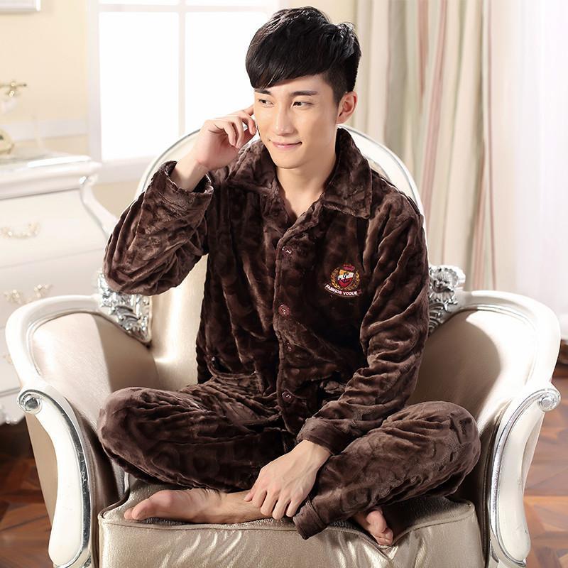 秋冬季休闲长袖珊瑚绒男士睡衣长裤纯色翻领男人睡衣