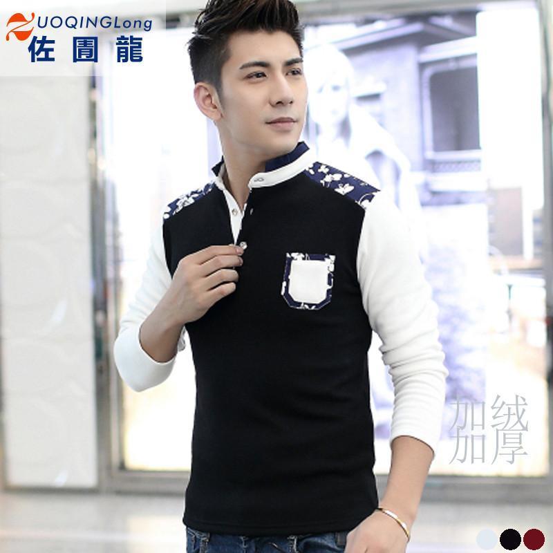 【佐圊龙】佐圊龙2015加绒青少年t恤男长袖男装纯棉