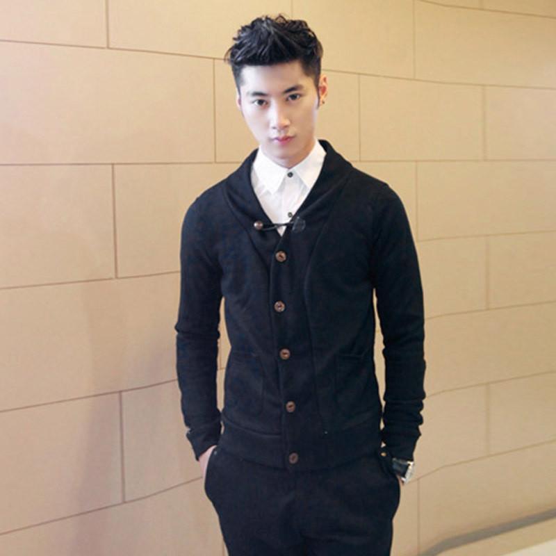 海之郎 男士秋冬季v领针织开衫男款韩版修身开衫毛衣1601 ca310h 黑色