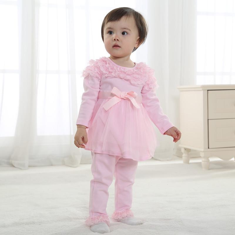春款新款童装0~2岁婴儿衣服女宝宝两色甜美纯棉花边裙