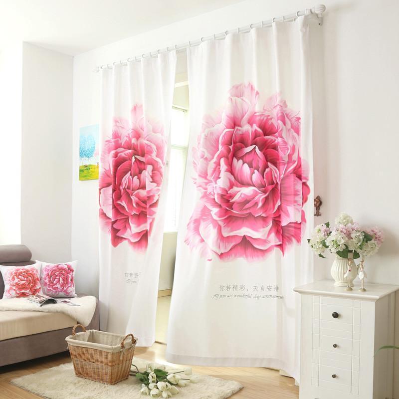 布蝶轩 个性定制手绘效果窗帘 大气现代门帘隔断卧室客厅 盛开 枚红色