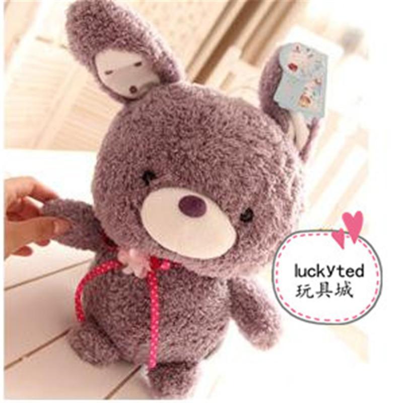 可爱小兔子情侣泰迪熊毛绒玩具公仔 娃娃玩偶 生日礼物p 紫兔中号