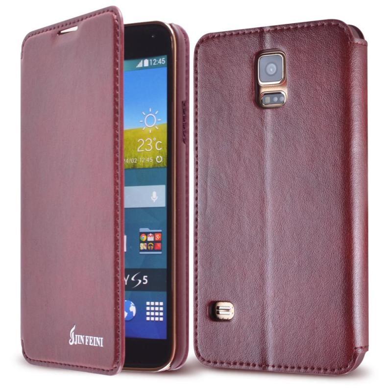 金菲尼 三星galaxy s5/i9600/g9006v 手机保护套皮套外壳 翻盖支架 枣
