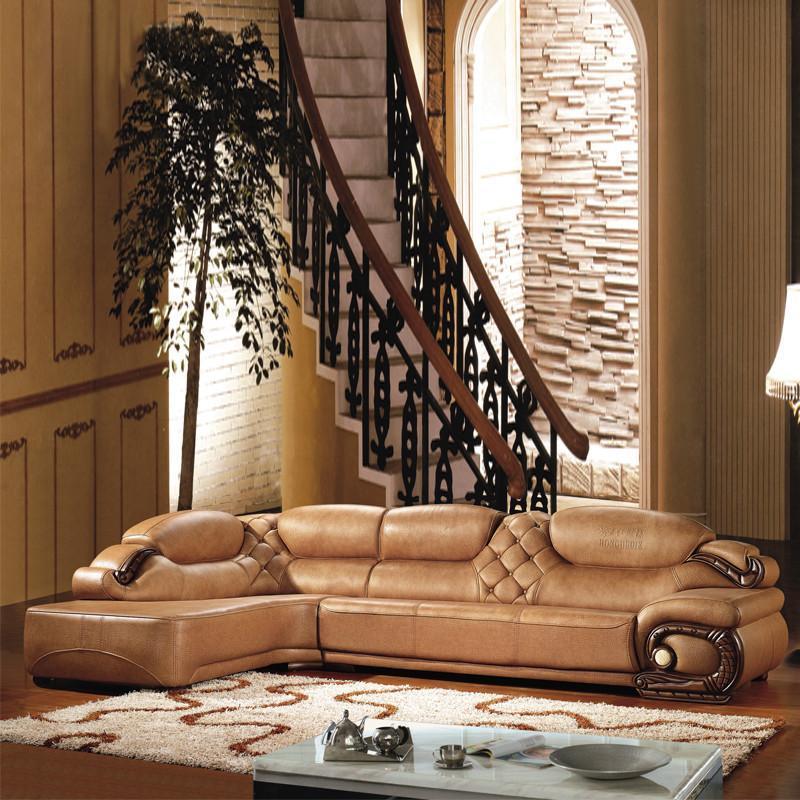 俏夫人 真皮沙发欧式实木雕刻中厚皮沙发客厅转角组合皮沙发f05# 三人