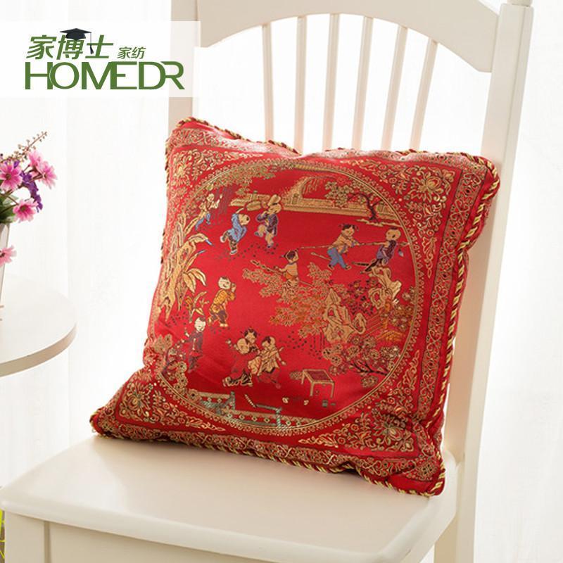 锦缎丝绸中式婚庆抱枕被子两用红色靠垫被